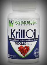 Potent Krill Oil 1,000mg Omega 3 EPA DHA Astaxanthin Heart Joints Brain Immune