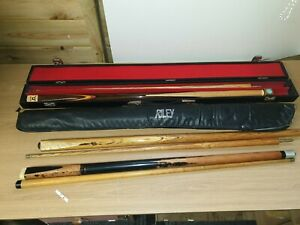 SNOOKER CUES X 3 JOB LOT RILEY