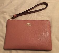 NWT Coach Corner Zip Wristlet Crossgrain Leather F58032 Pink Pebble