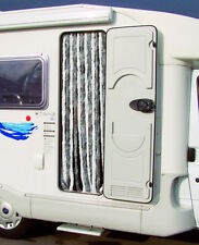 Chenille Door Curtain Fly Screen / Motorhome Caravan SILVER / WHITE - VC47NC0201
