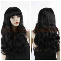 Fashion Women Cosplay Natural Long Wavy Curly Wigs With Bang Party Wig Black Wig