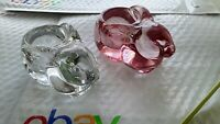 SET OF 2 Vintage Indiana Glass Rabbit Votive Candle Holders  ROSE AND CLEAR