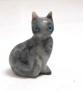 chat en stéatite miniature de collection, cat, poes,chat en pierre   TP12-08