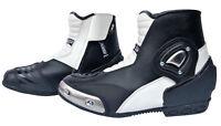 Motorradstiefel kurze Racing Boots XLS Motorrad Lederstiefel schwarz weiß