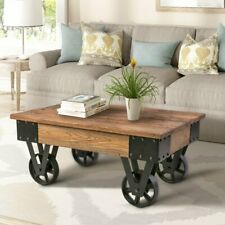 Industrial Farm House Coffee Table Chic Sturdy Solid Wood Top Metal Base Rolling