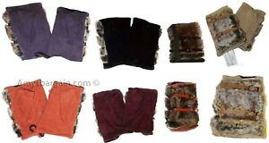 New Winter Finger-less Suede Leather Gloves Hand/Wrist Warmer Fur Gloves bnwt