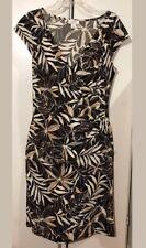 ANN TAYLOR LOFT Dress Brown Costal Beige Cap Sleeve Size 10