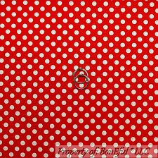 BonEful FABRIC FQ Cotton Quilt Red White Little Polka Dot Minnie Mouse Girl Boy