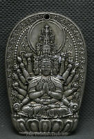 65MM Old Chinese Miao Silver 1000 Arms Avalokiteshvara of Goddess Pendant Amulet