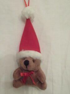 Cute little brown Christmas bear hanging Christmas decoration