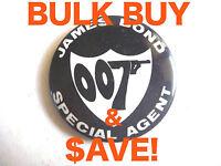 WHOLESALE! 10x JAMES BOND 007 VINTAGE TIN Pinback badges AUSSIE ONLY! WHOLESALE!