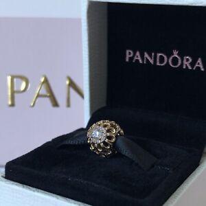 PANDORA 14ct Gold Floral Brilliance Openwork Charm ~ 750836CZ ~ NEW in Box
