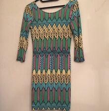 Topshop Aztec Bodycon Dress Size 8