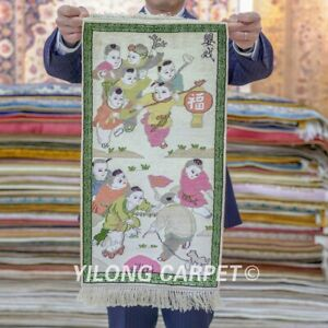 Yilong 2'x1' Playing Kids Tapestry Area Rugs Handmade Chinese Silk Carpets 042H