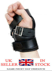 Real mens Black Leather Suspension Hand Wrist Cuffs Locking Buckles