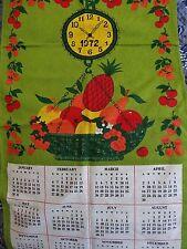 Vintage 1972 Joyce Morris 100% Cotton Calendar, Clock & Hanging Basket of Fruit