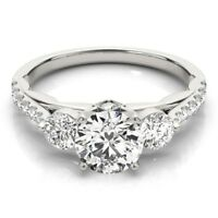 Solid 14K White Gold Round Cut 1.60 Carat Diamond Wedding and  Engagement Rings