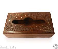"""Wooden Hand Carved Brass Inlaid Napkin Box ✿10x6"""" Paper Tissue Holder Handicraft"""