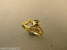 New Lady's Women's Yellow Gold Plated Filigree Single Flower Rose Ring Size 7.5