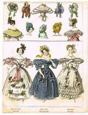 """Modes de Paris"" - ""ROBE DE SATIN BROCHE"" - Hand Colored Eng. - 1852"