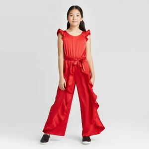 Girls' Ruffle Red Satin Jumpsuit from art class Size L