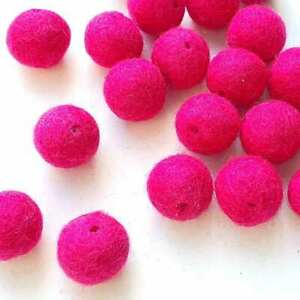 2cm HOT PINK Felt Balls with HOLES x20 Wool.Pom poms.Craft beads Kids. Beading