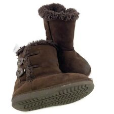 Toddler Size 7 Faux Suede Winter Boots Sheepskin Fur, Light Brown Girls Toggle