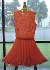 "Jack Bryan 1950s Beaded Party Dress Pink Salmon 26"" Waist Hendrickson Costume"