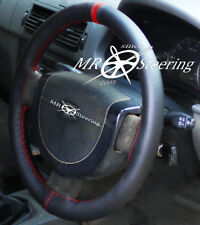 FOR MERCEDES E CLASS W211 02+ BLACK LEATHER STEERING WHEEL COVER +DARK RED STRAP