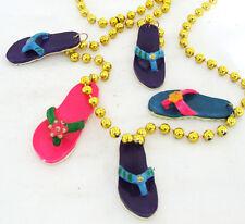 Sandals Beach Party Mardi Gras Bead Necklace Beads Luaua Beach Party Flip Flops