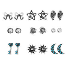 KD_ 9Pairs Boho Jewelry Ear Stud Moon Sun Leaf Rhinestone Lady Earrings Set No