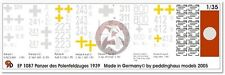 Peddinghaus 1/35 Panzer I-II-III-IV Tank Markings Poland WWII (7 tanks) 1087