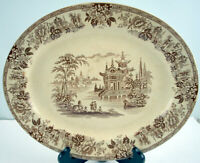 Antique Brown transferware Platter Brownfield & Sons Crown1800's Made in England