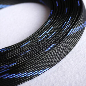 Ø3~50mm Black-Blue PET Braided Sleeving Cable Harness Sheathing Expanding Sleeve