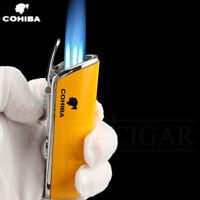 Metal Windproof Mini Pocket Cigarette Lighter 3 Jet Blue Flame Torch