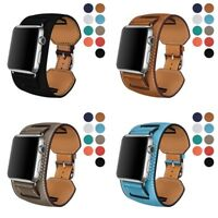 Genuine Leather iWatch Band Bracelet Cuff Strap for Apple Watch 6/5/4/3 40/44mm