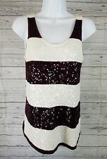 Ann Taylor LOFT Tank Top Sz XS Maroon White Striped Sequins WW