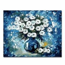 16x20 Wooden Framed Paint by Number  Diy Oil Painting daisies daisy blue vase