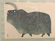 INUIT MUSK OX PRINT SIGNED BY PUDIO