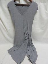 Aakka Dress w Draped Side Open Cap Sleeve V Neckline Gray Size M #6459