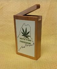 "State of Maine ""Vote For Freedom"" Wooden Flip-Top Cigarette Case"
