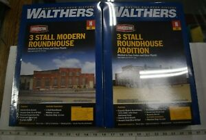 Lot 7-155 N Scale Walthers 933-3260 & 3261 - 3-Stall Roundhouse w/3-Stall Add on