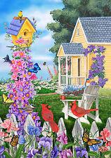"""COZY COTTAGE SPRING SUMMER FLOWERS BIRD HOUSE 12""""x18"""" GARDEN FLAG BANNER"""