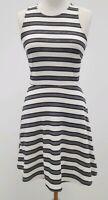 Ladies White Black Striped Sleeveless Skater Style Short Dress UK Size 8-10 H&M
