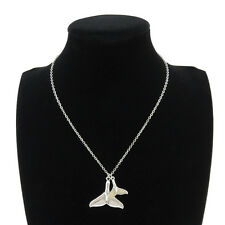 "Silver Alloy Ocean Sea Big Whale Tail Pendant Short Collar Necklace 18"" Beach"
