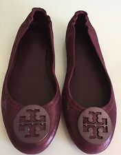Tory Burch Minnie Travel Ballet Flats Shoes Port Sparkle Suede Leather Size 8 M