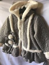 Isobella & Chloe Girls Gray Quilted Ruffled Coat With Ivory Faux Fur 18M-New