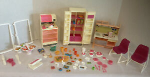 Vintage 1970s 1980s Barbie Furniture Dishes Food Pots Pans Oven Fridge Etc..
