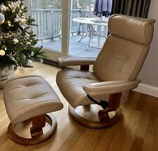 "Ekornes Stressless Leather Recliner 'Small"" With Adjustable Head Rest"