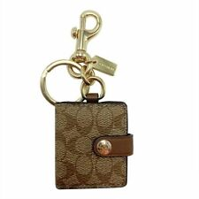 Coach Picture Frame Bag Charm Keychain in Signature Canvas Khaki Gold Tone